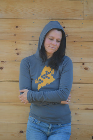 Bee ME Maine State Insect Womens Hooded Shirt Grey with Yellow Hand Printed 100% Ribbed Cotton