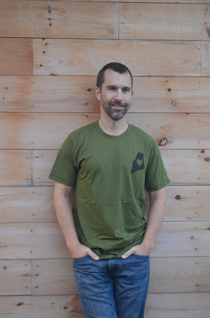 Maine Love, Green, Short Sleeve, Men's Shirt, Women's Tee, Silkscreened, Handprinted, Maine State, State Pride, Cotton