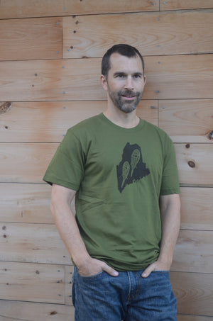 Snowshoe, Maine State, Appalachian Trail, Short Sleeve, Nature Lover, Tee Shirt, Mens or Women's, Green T-Shirt, Silkscreened, Maine State