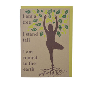 Yoga Card, Tree Pose, Mothers Day, Blank Card, Recycled Paper, Compostable Plastic, Environmentally Friendly, Birthday Card, For Her