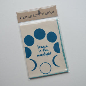 Organic Hanky Handkerchief Dance in the Moonlight Cotton Hankies Wedding Favor Hankerchief
