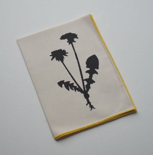 Organic Cotton Hanky Handkerchief Dandelion Flower Wedding Favor Hankerchief