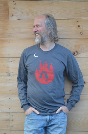 Camping, Long Sleeve, Hiker, Appalachian Trail, Nature Lover, Gray Shirt, Tent Camping, Men's, Women's, Unisex, Silkscreened, Handprinted