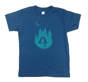 Organic Cotton Toddler Tee Shirt Camping Under the Moon Blue Kids T Shirt