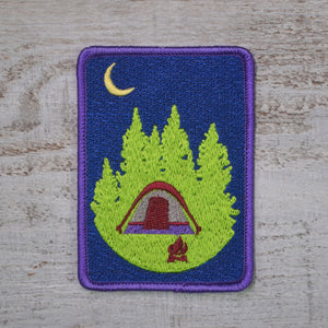 Embroidered Iron On Patch Camping under the Moon