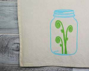 Kitchen Towel, Tea Towel, Dish Towel, Flour Sack, Cotton, Soft Material, Fiddlehead, Mason Jar, 16 x 24 inches