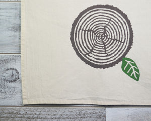 Tree Ring, Nature Lover, Kitchen Towel, Tea Towel, Dish Towel, Flour Sack, Cotton, Soft Material, Woodland, 16 x 24 inches