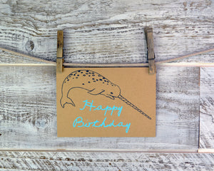 Narwhal, Birthday Card, Blank Card, Recycled Paper, Encouragement Card, Compostable Plastic, Earth Friendly, Nautical Card, Ocean Theme