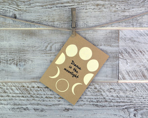 Birthday Card, Moon Phase, Dance, Encouragement Card, Blank Card, Recycled Paper, Compostable Plastic, Eco Friendly