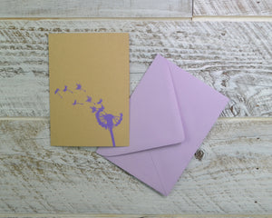 Dandelion Flower, Light Purple, Blank Card, Recycled Paper, Compostable Plastic, Eco Friendly, Make a Wish, Graduation Card