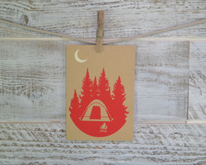 Camping, Hiking, Blank Card, Recycled Paper, Compostable Plastic, Eco Friendly, Red, Birthday Card, Kraft Paper, Envelope
