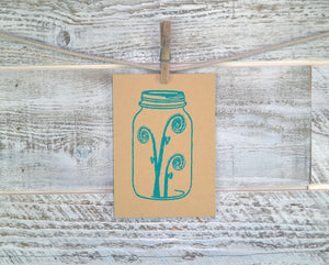 Fiddlehead, Mason Jar, Blank Card, Recycled Paper, Compostable Plastic, Eco Friendly, Birthday Card, Nature Lover