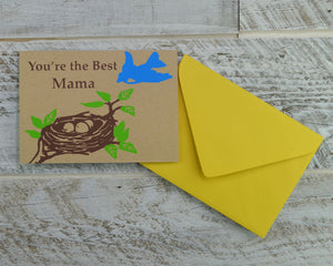 Mama Bird, Mothers Day, Mom Card, Mama, Spring Card, Blank Card, Recycled Paper, Kraft Paper, Compostable Plastic, Eco Friendly