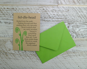 Fiddlehead, Spring Card, Birthday Card, Maine, Forager, Blank Card, Recycled Pape,r Compostable Plastic, Eco Friendly