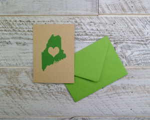 Maine, Love, Blank Card, Colored Envelope, Silkscreened, Handprinted, Recycled Paper, Kraft Paper, Compostable Plastic, Birthday Card
