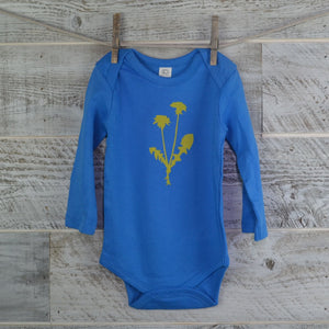 Dandelion Flower, Organic Onesie, Spring, Cotton, Baby Gift, Body Suit, Long Sleeve, Blue, New Mom Gift, Baby Shower