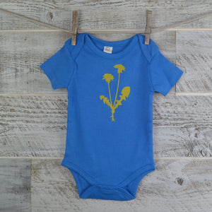 Dandelion Flower, Organic Onesie, Spring, Cotton, Baby Gift, Body Suit, Short Sleeve, Blue, New Mom Gift, Baby Shower