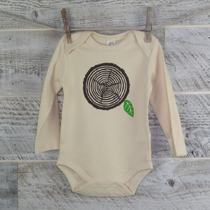 Wood Onesie, Wood Grain, Long Sleeve, Organic Cotton, Organic Onesie, Baby Shower, One Piece, Boy Girl, Baby Gift, Woodworker, Nature Lover