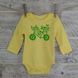 Baby Bike, Organic Onesie, 100% Cotton, Yellow Onesie, Baby Gift, New Mom, Baby Shower, One Piece, Boy or Girl, Nature Lover, Bodysuit
