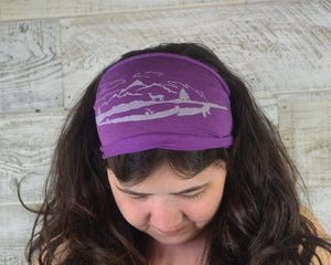 Feather, Headband, Purple, Yoga Band, Hiking Band, Wide Band, Jersey Cotton, Hiker Gift, Nature Lover, Woodland, Mountains, Deer, Forest
