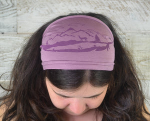 Feather, Headband, Light Purple, Yoga Band, Hiking Band, Wide Band, Jersey Cotton, Hiker, Nature Lover, Woodland, Mountains, Deer, Forest