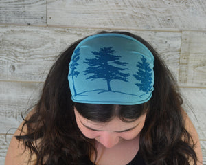 Pine Tree, Headband, Blue, Yoga Band, Hiking Band, Wide Band, Jersey Cotton, Hiker, Nature Lover, Woodland, Forest, Appalachian Trail
