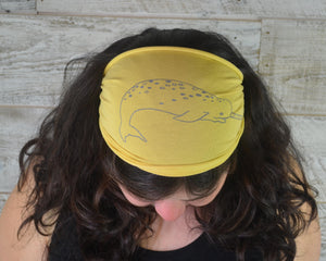Narwhal, Headband, Mustard Yellow, Yoga Band, Hiking Band, Wide Band, Jersey Cotton, Hiker, Ocean Lover, Nautical, Appalachian Trail