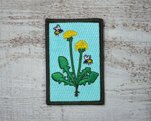 Dandelion, Honey Bee, Nature Patch, Outdoor Patch, Hiking Patch, Embroidered Patch, Wilderness Patch, Iron On Patch, Sew On Patch,