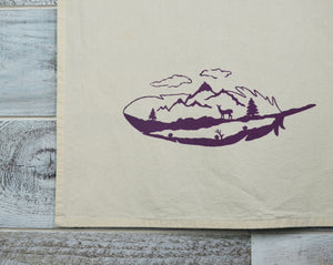 Feather, Nature Lover, Kitchen Towel, Tea Towel, Dish Towel, Flour Sack, Cotton, Mountains, Deer, Soft Material, 16 x 24 inches