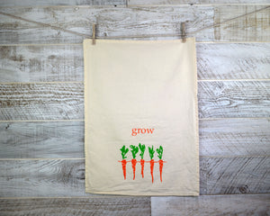 Garden, Kitchen Towel, Tea Towel, Dish Towel, Flour Sack, Cotton, Carrots, Grow Food, Soft Material, 16 x 24 inches