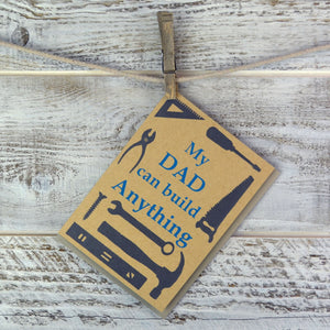 Fathers Day, Woodworker, Dad Birthday, Blank Card, Builder, Fixer, Recycled Paper, Compostable Plastic, Environmentally Friendly