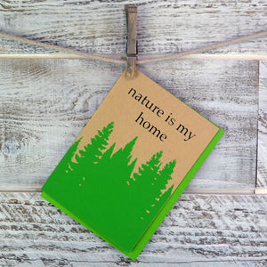 Nature Lover, Blank Card, Nature Home, Hiker, Recycled Paper, Compostable Plastic, Eco Friendly, Pine Trees, Get Well Card, Thinking of You