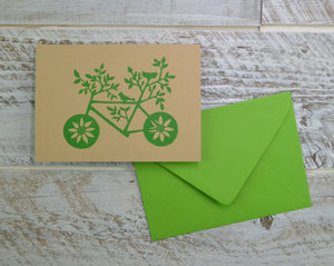Nature Lover, Bike, Blank Card, Recycled Paper, Compostable Plastic, Eco Friendly, Green, Birthday Card, Kraft Paper, Envelope, Bird