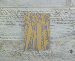 Birch Trees, Blank Card, Recycled Paper, Compostable Plastic, Eco Friendly, Birthday Card, Nature Lover, Kraft Paper, Purple, Lavender