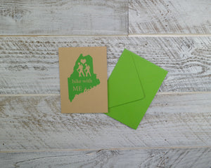 Hiker, Blank Card, Maine Hikes, Appalachian Trail, Envelope, Silkscreened, Handprinted, Recycled Paper, Kraft Paper, Compostable Plastic