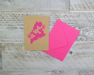 Honey Bee, Maine State, Blank Card, Envelope, Silkscreened, Handprinted, Recycled Paper, Kraft Paper, Compostable Plastic, Birthday Card