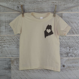 Organic Cotton Maine Love Toddler T-Shirt in Natural Color State of Maine