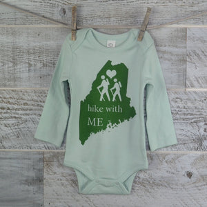 Nature Lover, Hiking, Maine, Long Sleeve, Organic Cotton, Organic Onesie, New Mom, Baby Shower, Body Suit, Boy or Girl, Baby Gift, Onesie