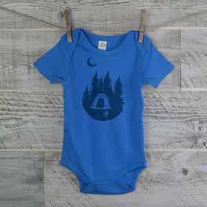 Camping Onesie, Short Sleeve, Organic Cotton, Blue, Organic Onesie, New Mom, Hiker, Baby Shower, Body Suit, Boy or Girl, Nature Lover,