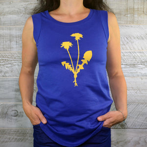 Nature Women's Shirt, Dandelion Flower, Yoga Shirt, Sleeveless Shirt, Hiking Shirt, Cap Sleeves, Navy Blue Shirt, Gardening Shirt