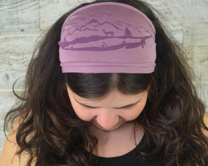 Feather Mountain Headband Face Cover - Light Purple