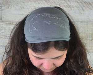 Narwhal, Headband, Grey, Gray, Yoga Band, Hiking Band, Wide Band, Jersey Cotton, Hiker, Ocean Lover, Nautical, Appalachian Trail