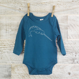 Narwhal, Long Sleeve, Organic Cotton, Blue, Ocean Theme, Organic Baby, New Mom, Baby Shower, Body Suit, Boy or Girl, Whale Lover