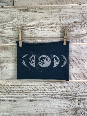 Moon Phase, Headband, Blue, Yoga Band, Hiking Band, Wide Band, Jersey Cotton, Hiker, Nature Lover, Full Moon,
