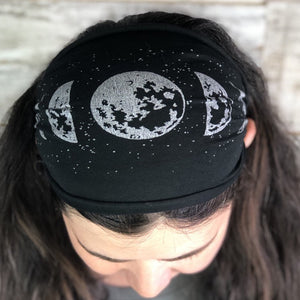 Moon Phase, Headband, Black, Yoga Band, Hiking Band, Wide Band, Jersey Cotton, Hiker, Nature Lover, Full Moon,
