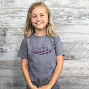 Nature Kid Shirt, Feather, Mountains, Nature Lover, Tree Stump, Short Sleeve, T-Shirt, Boy Girl, Grey, Gray, Purple, Unisex, Toddler Gift