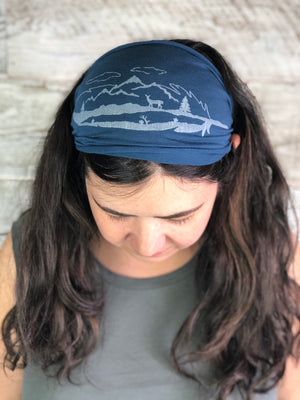 Feather, Headband, Blue, Yoga Band, Hiking Band, Wide Band, Jersey Cotton, Hiker, Nature Lover, Woodland, Mountains, Deer, Forest