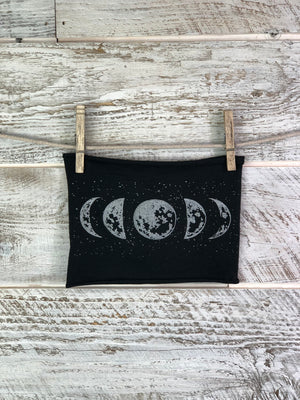 Moon Phase Headband Face Cover - Black