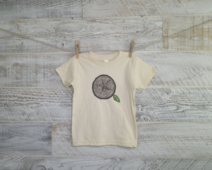 Woodland Kid Shirt, Nature Lover, Tree Stump, Short Sleeve, Organic Cotton, Organic Tee, Baby Shower, T-Shirt, Boy Girl, Woodland, Unisex,