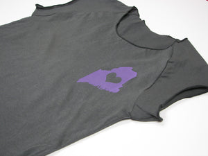 Maine Love Womens T Shirt Grey with Purple Lavender Silkscreened Maine State Heart Tee Shirt